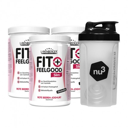 3 x Layenberger Fit+Feelgood Slim + nu3 Shaker, Rote Beeren-Joghurt (0 -)